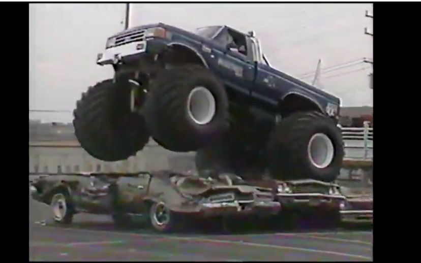 When The Announcer Becomes The Driver: Watch Mike Gallaway Pilot Bigfoot Around A Parking Lot Back In The Day