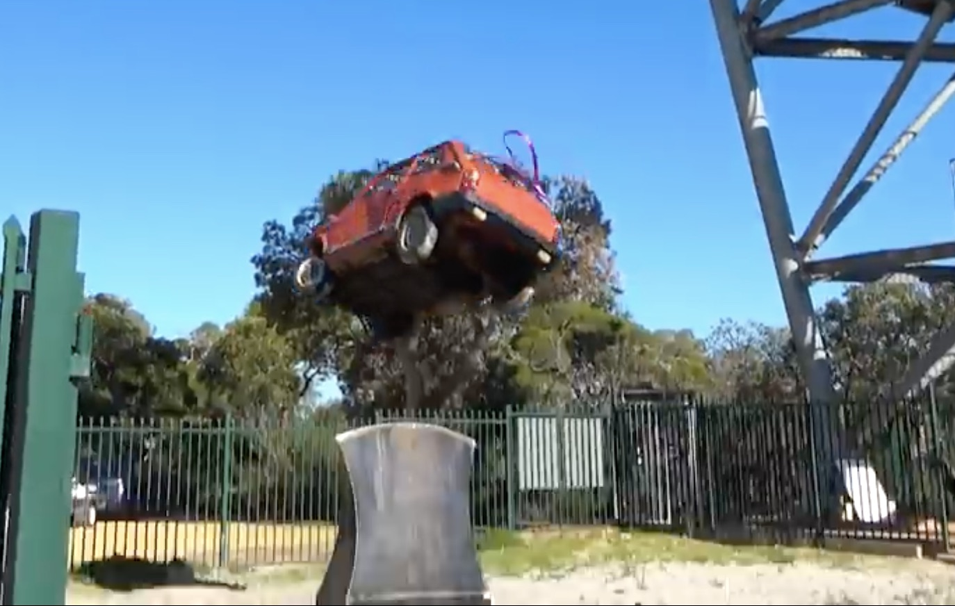 Like Nothing: Dropping A Fiat 126 On An Ax Blade The Size Of A Doghouse!