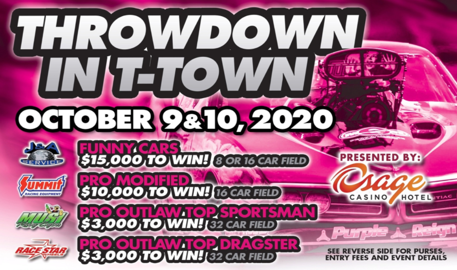 The Fall Throwdown In T-Town Goes LIVE This Afternoon! FREE Livestreaming Drag Racing Right Here Friday and Saturday!