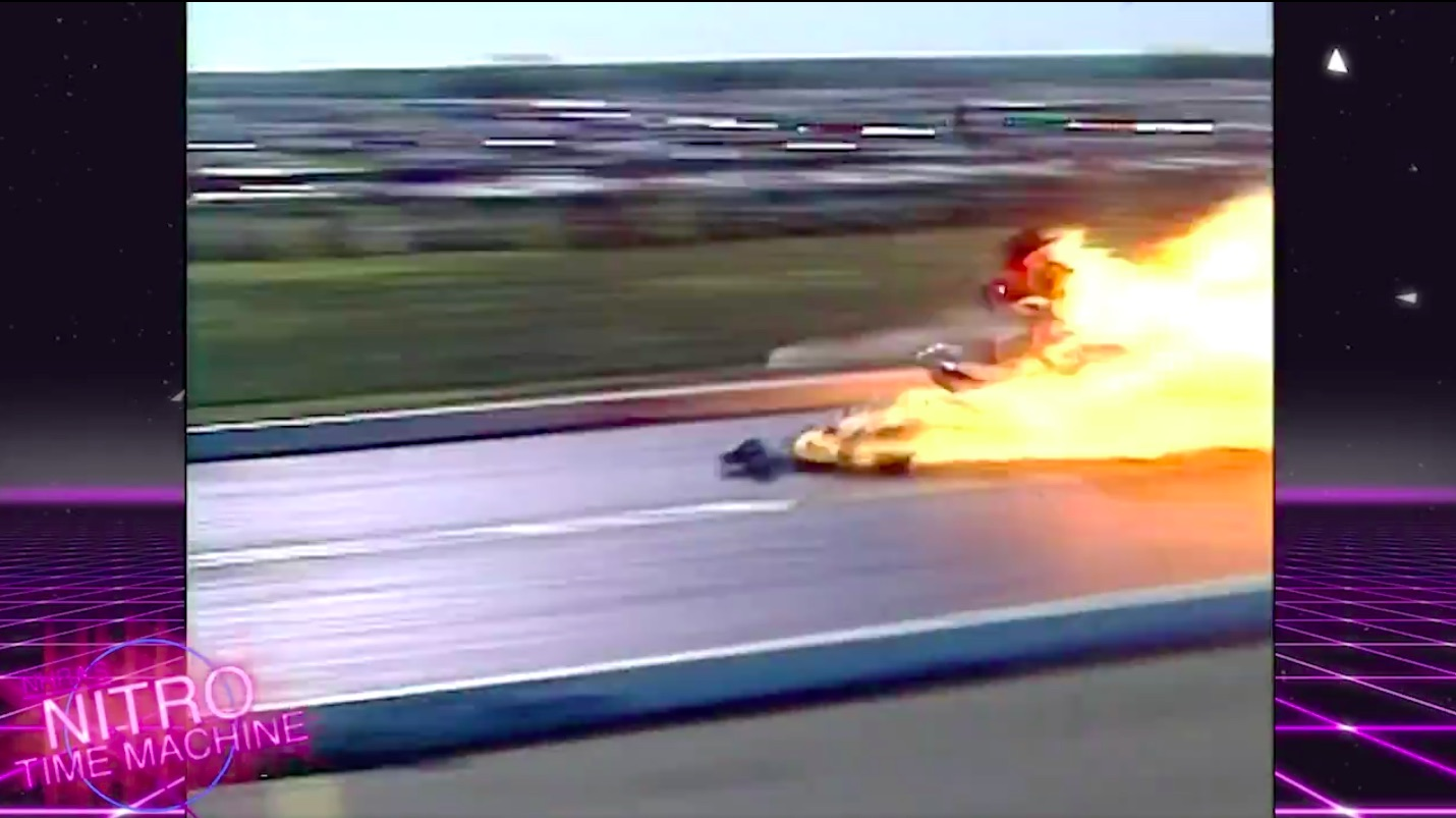 NHRA Nitro Time Machine: Experience Mark Oswald's Incredible 1990 Dallas Explosion With Mac and Evans On The Call