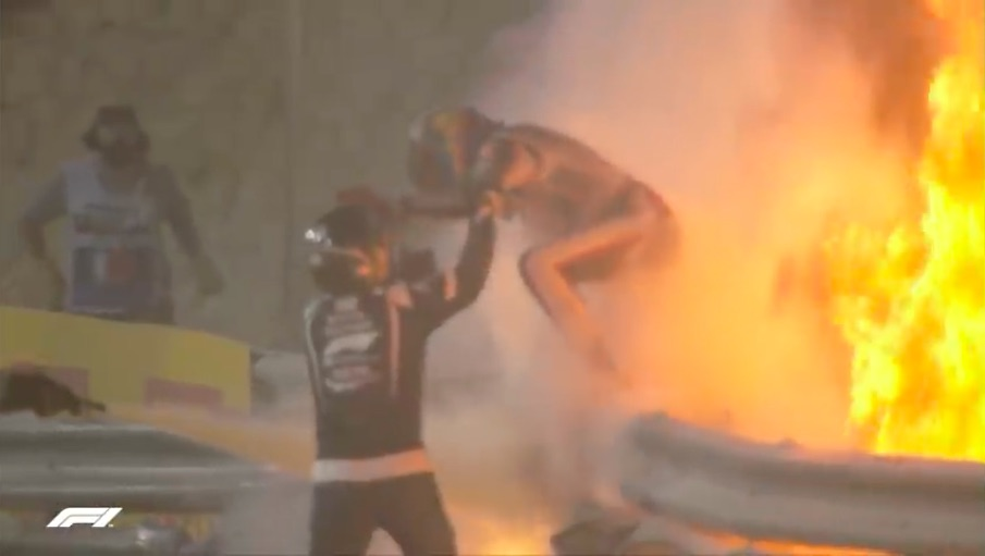 Watch Romain Grosjean Walk Away From One Of The Worst Formula One Crashes In History
