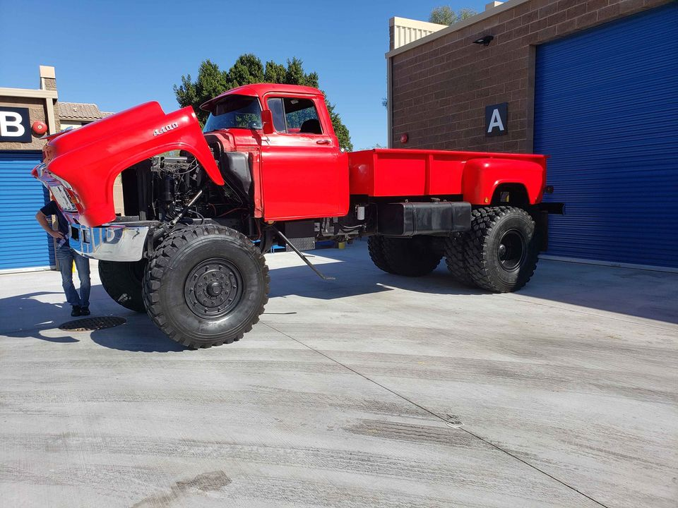 This Killer 1955 Chevy Truck Is Mounted On A 4-Ton 4×4 Military Truck Chassis That Can Haul Anything You Want