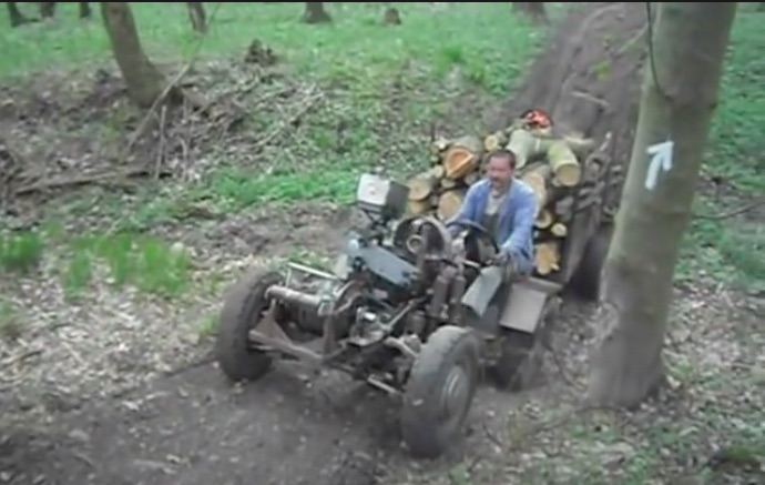 This Homemade Russian Tractor Is An Incredible Mashup Of Dirt Bikes Parts, Chains, Jack Shafts, and Win!