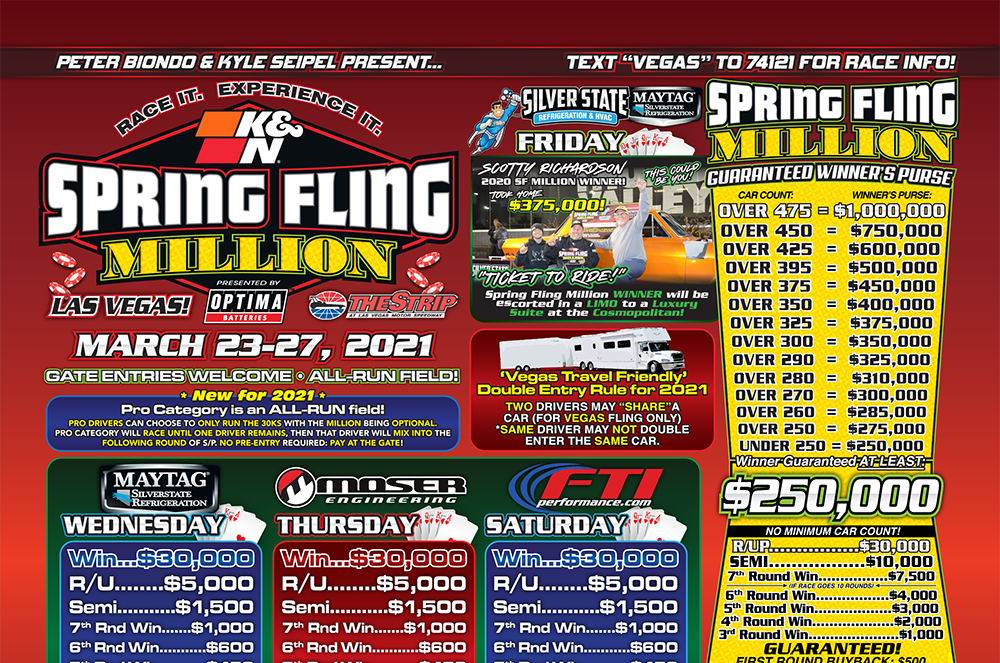 Watch The Replay Of The 2021 Spring Fling MILLION From Las Vegas! Insanely Tight Bracket Racing Action