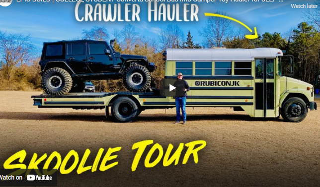 EPIC BUILD: Off-Roading College Student Converts School Bus Into Camper And Toy Hauler Combo For His Jeep