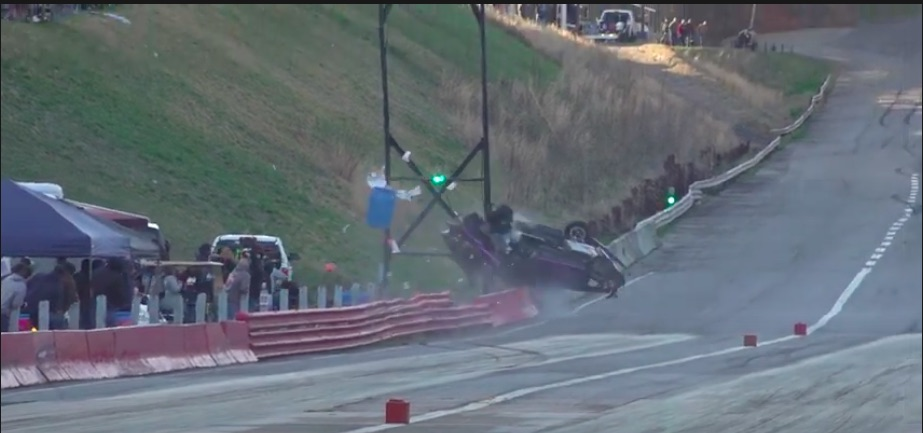 Incredible  Video: Watch A Mustang Hit The Scoreboard At Wilkesboro Dragway And Get Torn In Half