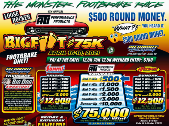 FREE LIVE RACING – Footbrake Racers Are Getting It On! The Bigfoot $75,000 Footbrake Only Race Starts Today!