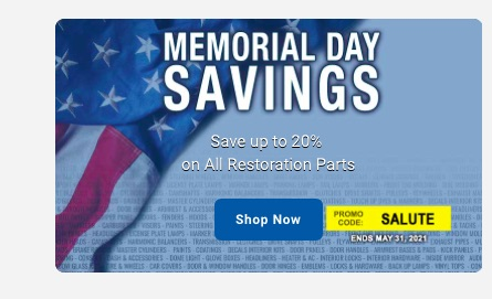 OPGI Memorial Day Weekend Sale Is ON: Save Up To 20% On The Restoration Parts You Need – Don't Delay!