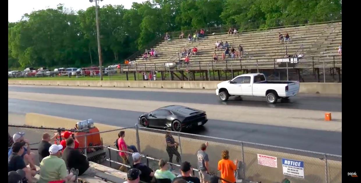 Fun At The Strip: A Cummins Powered Ram Takes On A Lamborghini Huracan For Grudge Racing Fun