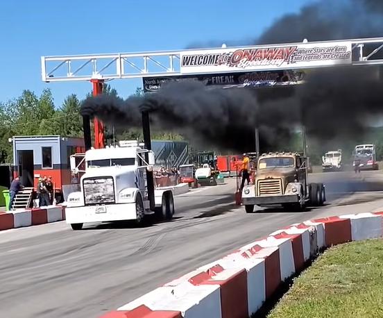 Rolling Coal: 2021 Great Lakes Big Rig Challenge Uphill Semi Drag Racing Video