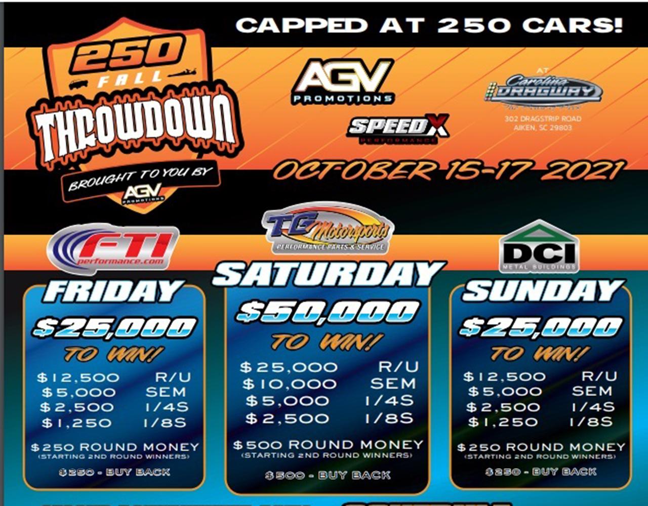 FREE LIVE STREAMING DRAG RACING: The 250 Throwdown At Carolina Dragway Starts Today!